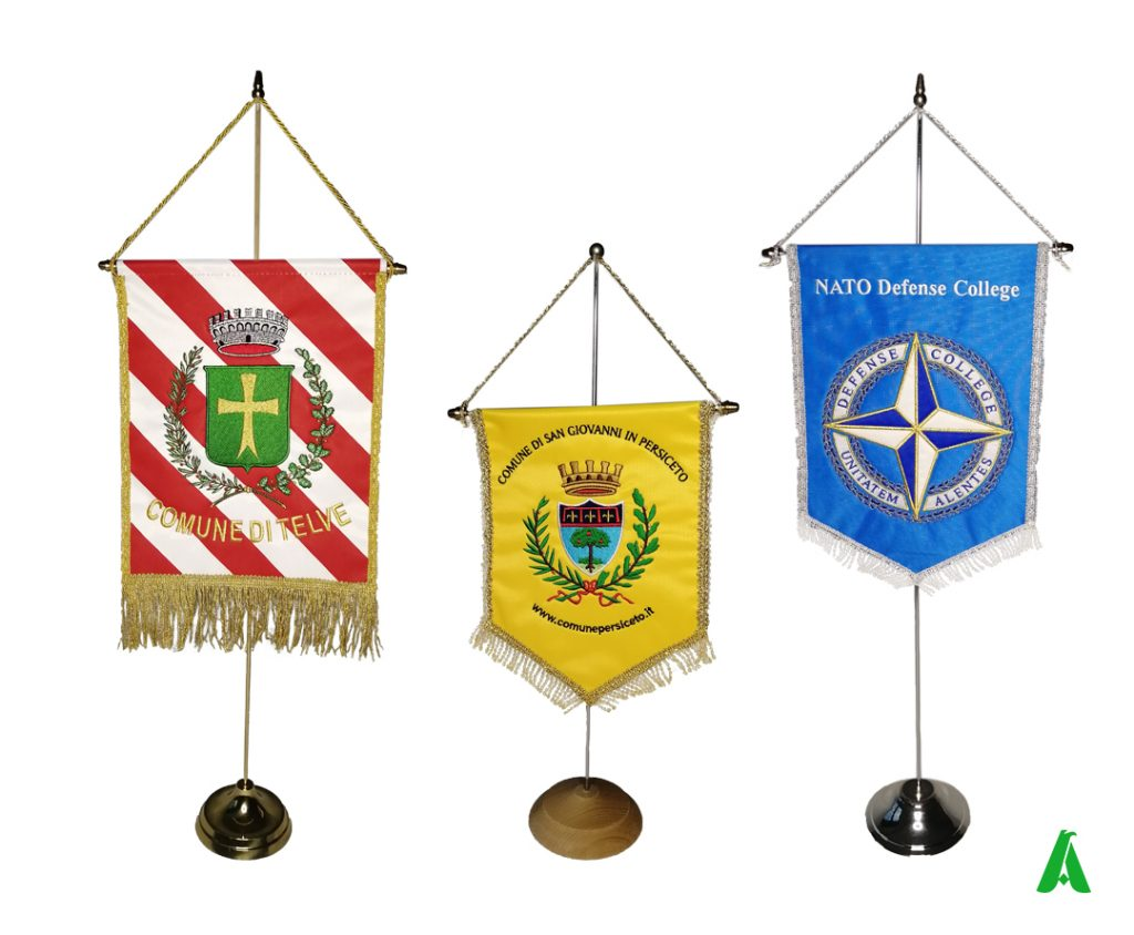 Embroidered pennants for municipalities